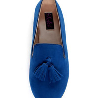 Yoki Frida Blue Tassel Smoking Slipper Flats - $28.00