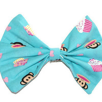 Paul Frank Monkey Cupcake 6 inch Hair Bow