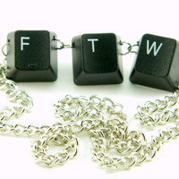 Unisex Necklace Recycled Computer Keyboard FTW