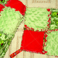 Green and Red Foggies Rag Quilt Blanket with Nuk Holder