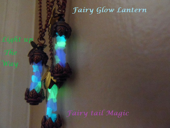 Glow in the dark Lantern  Vial necklace, Copper or Pewter color Vial choice