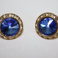 Vintage Earrings Blue Rhinestone 1950s Jewelry
