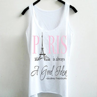Women Tank Top - Audrey Hepburn- Paris is always a good idea...