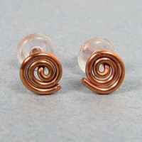 Copper Stud Earrings Spriral with Posts