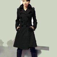US NW Womens winter Double-breasted Slim WOOL Trench Coat Parka long Jacket