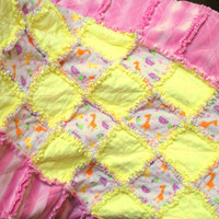 Baby Rag Quilt Blanket BABY ANIMALS & HEARTS Great gift...