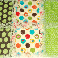 Baby Rag Quilt Polka Dot with Cupcake Burp Cloth