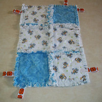 NEW HANDMADE BOYS ROCKING HORSE BURP CLOTH & BABY COMFORT BLANKET W/CRINKLE