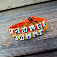 Personalized Name Bracelet Hemp Macrame Choose your Color
