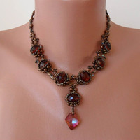 Light Brown Necklace - Swarovski and Czech Cristal -- Unique Design