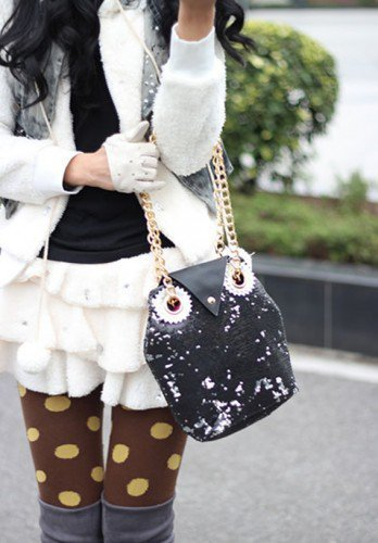 Lovely Sequins Embellished Black Owl Handbag. Bling. Chic Weekend Bag