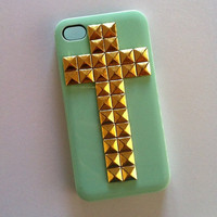 Cross Studded Mint iPhone 4 4s Case