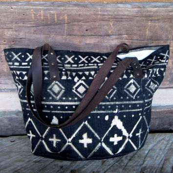Canvas, Leather, and Denim Market Tote // Beach Bag with Tribal Geometric Print // Ready to Ship
