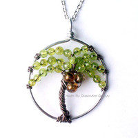 The Coconut Palm, Wire Tree of Life in Kyanite and Smokey Brown Glass Druks, Tropical Beach Tree