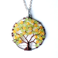 The Orange Tree, Wire Tree of Life in Honey Jade and Olivine Druks