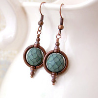 Green and Copper Steampunk Earrings with a Saturn Ring
