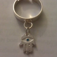 Bohemian Hamsa Dangle Charm Ring