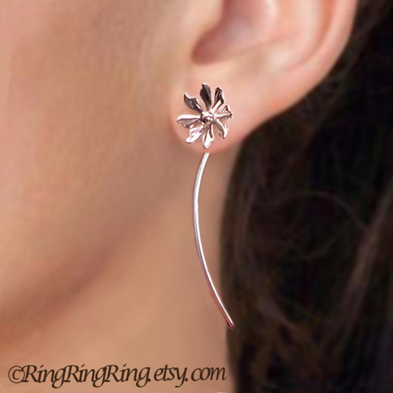 925 Cute flower long stem earrings  - Unique sterling silver jewelry 080512
