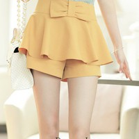 Women Polyester Bow High Waist Pleated Yellow  Short Pant S/M@MF5046y