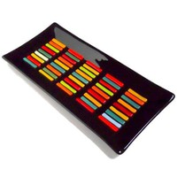 14 x 7 Fused Glass Platter - Black with Bright Accents
