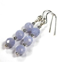 Sterling Silver Earrings Blue Lace Agate Faceted Triple Gemstone Beads