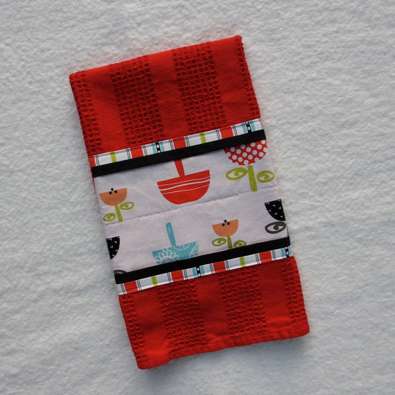 Mod Kitchen Towel, Red Kitchen Towel, Hand Towel
