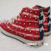 Canvas flag stud shoes personality fashion shoes studed shoes