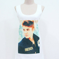Justin Bieber Shirt Justin Bieber Boyfriend Tank Top Women Shirts White Shirt Tunic Top Vest Sleeveless Women T-Shirt Size S M