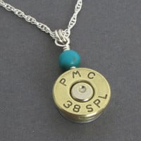 Long Bullet Necklace - 38 Special with Turquoise and Sterling Silver - Made to Order