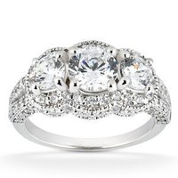 Real 2.25ct Vintage Diamond Engagement Ring Pave Antique White Gold Round Womens: Jewelry: Amazon.com
