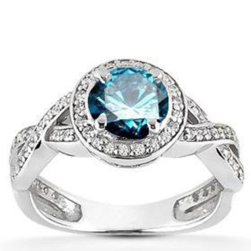 1.00CT Pave Halo Blue Diamond Engagement Ring 14K White Gold: Jewelry: Amazon.com