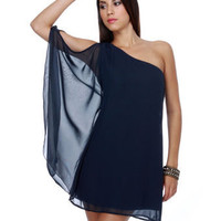 Psalm of Silence One Shoulder Navy Blue Dress