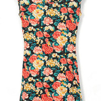 Retro Floral Bodycon Dress with Padded Shoulder