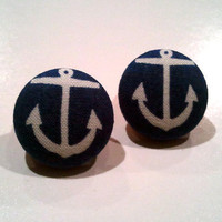 Navy blue and white anchor sailor button earrings