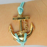 Anchor Charm - Gold Anchor Bracelet Blue wax rope Braided Bracelet Adjustable