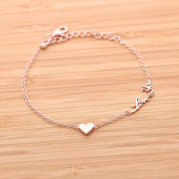 tiny heart & love you bracelet, in pinkgold