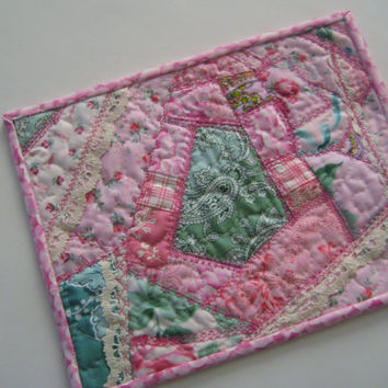 Pink Quilted Mug Rug - Snack Mat, Coaster #131 Upcycled, Repurposed Eco-Friendly - Pink October!