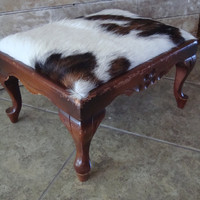 Vintage Cowhide Stool Wooden Sweet  Design