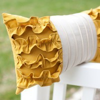Side Ruffles Pillow in Mustard Yellow/Light Gray by jillybeancraft