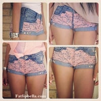 Low rise Pink Lace shorts.