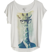 Giraffe With Glasses Photo Tee