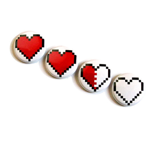 Pixel Heart Magnet Set Decoration 8 bit Zelda Geek