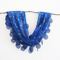 SOLD -  Royal Blue Cotton Floral Lace Scarf