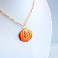 Jack-o-Lantern Charm Necklace - Burnt Orange- Hand Painted Patina - Brass - Pumpkin Halloween