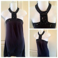 Women&#x27;s Sexy Beaded Halter dress Charcoal Gray with black beads size Small