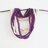 Crocheted Purple Ivory Pearl Scarf Necklace-Jersey Girl-Sport Elegance-Birthday-Valentines for her-Under 15