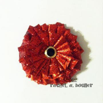 RUBY RED Flower hair clip 136 by RABOGNER on Zibbet