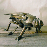 Rustic Antique Insect Ashtray - Brass