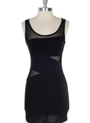 Black Sleeveless Bodycon Dress with Mesh Detail