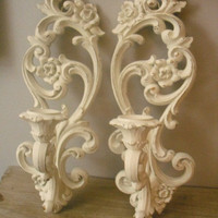 2 upcycled Scrolly Wall Sconces Romantic Shabby Chic cottage White ... Candle holders